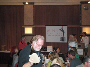 Brave winemaker pouring at the SBC