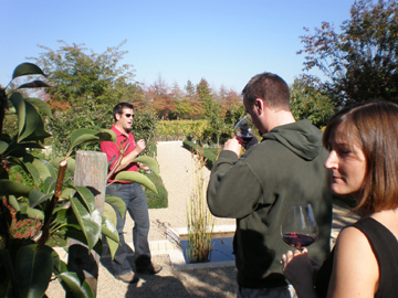 Chris (the winemaker) explaining the Aroma Garden