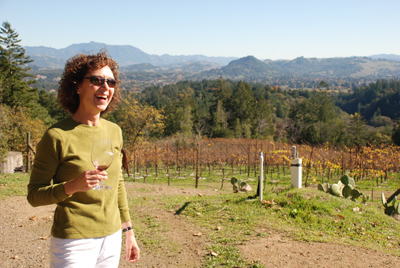 Lise atop Paolo's Vineyard